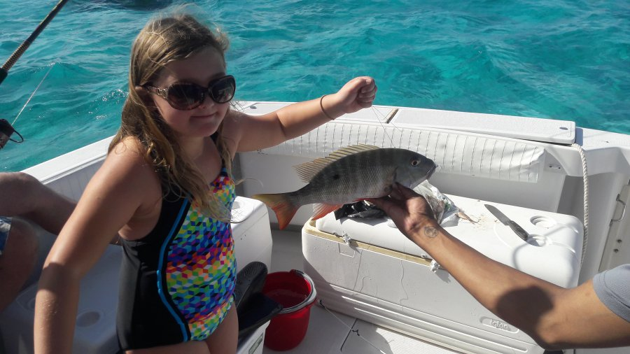 Little girl reef fishing