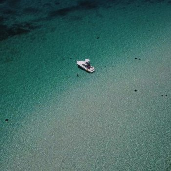 Drone photo of Stingray City Sandbar