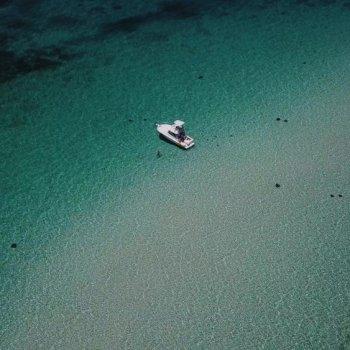 Drone photo of Stingray City Sandbar